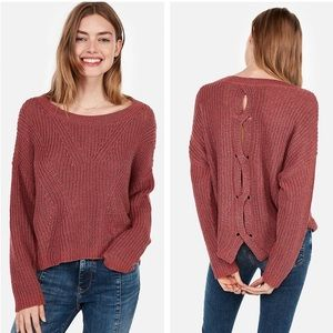 Express Cable Knit Split Back Pullover Swe…